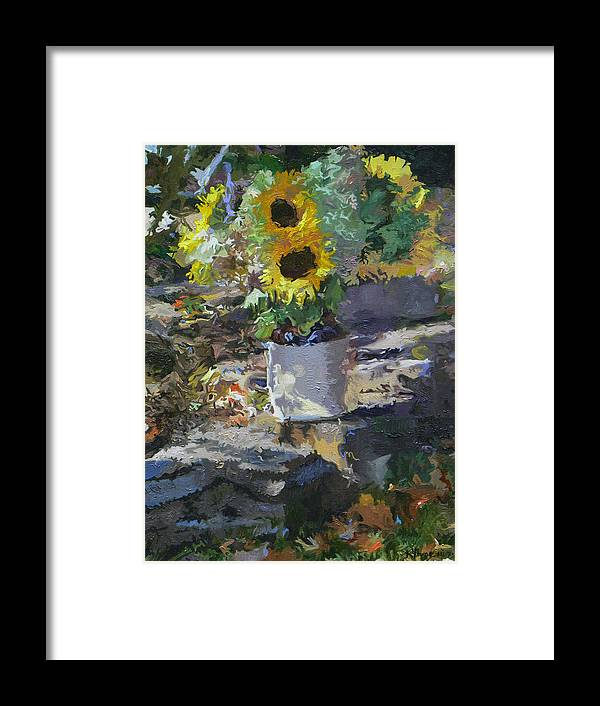 Still Life Framed Print featuring the painting Sunflowers by Kenneth Young