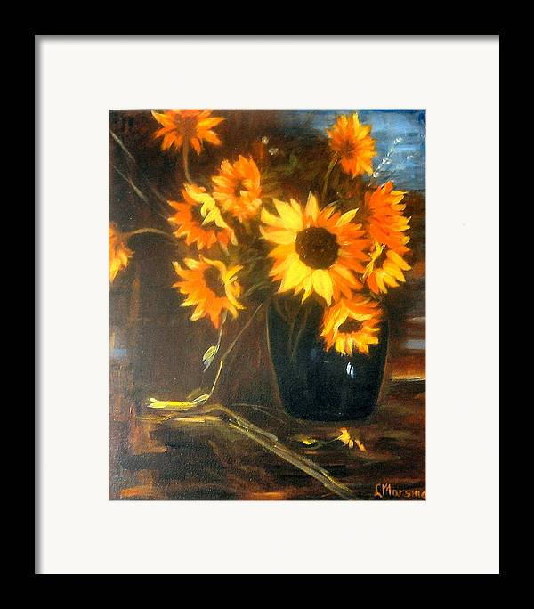 Flowers Framed Print featuring the painting Sunflowers by Lia Marsman
