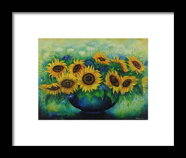 Flowers Framed Print featuring the painting Sunflowers No 1. by Evgenia Davidov