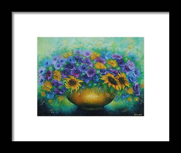 Flowers Framed Print featuring the painting Sunflowers No 2. by Evgenia Davidov