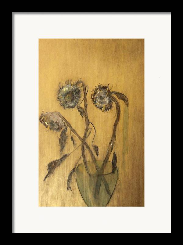 Floral Framed Print featuring the painting Sunflowers On Gold by Michela Akers