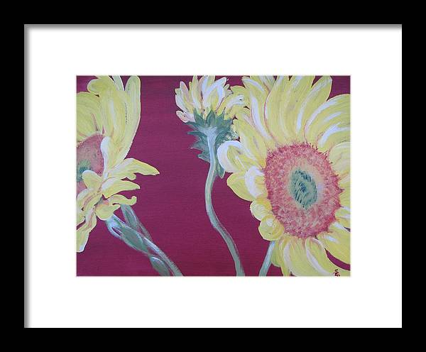 Red Framed Print featuring the painting Sunflowers On The Run by Susan E Brooks