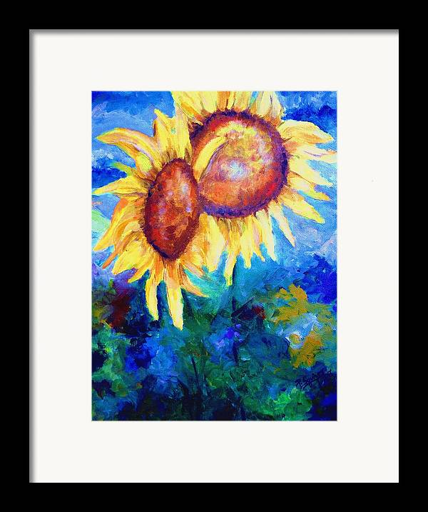 Flowers Framed Print featuring the painting Sunflowers by Pamela Squires