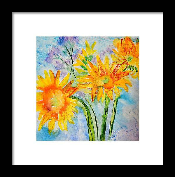 Sunflowers Framed Print featuring the photograph Sunflowers by Paper Jewels By Julia Malakoff