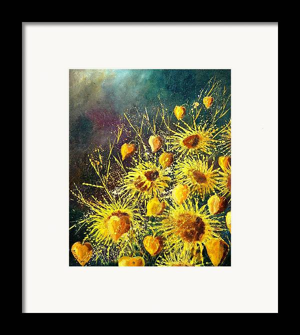 Flowers Framed Print featuring the painting Sunflowers by Pol Ledent
