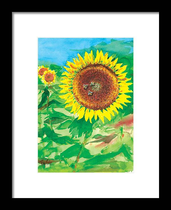 Sunflowers Framed Print featuring the painting Sunflowers by Ray Cole