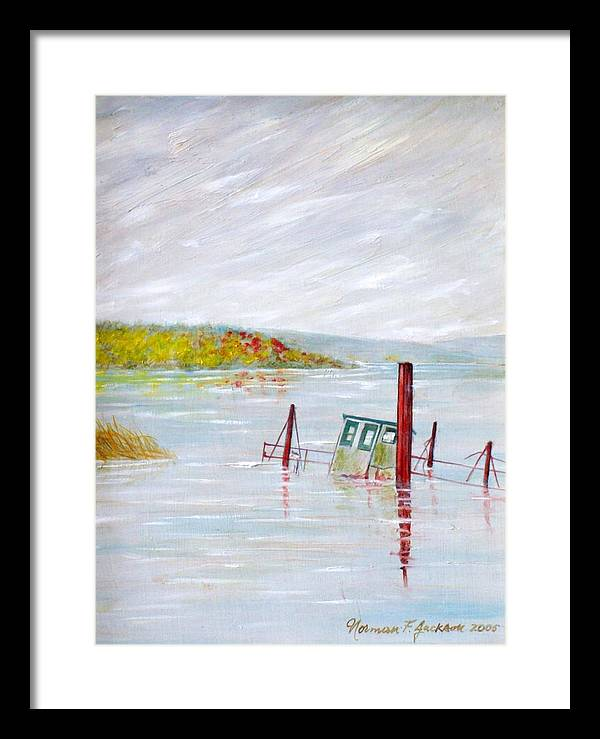 Water Framed Print featuring the painting Sunken by Norman F Jackson
