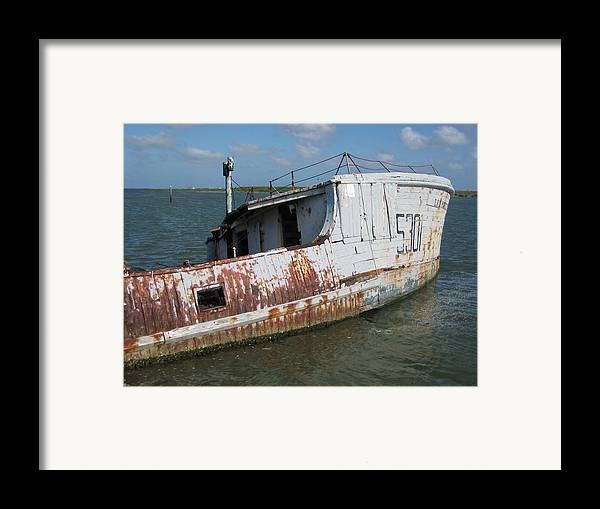 Boat Framed Print featuring the photograph Sunken Shrimpboat by Wendell Baggett