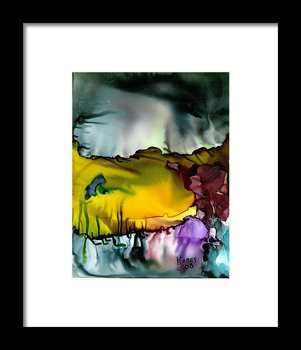 Abstract Framed Print featuring the mixed media Sunless Sea by Susan Kubes