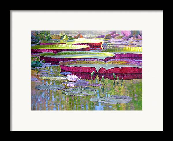 Lily Pond Framed Print featuring the painting Sunlight On Lily Pads by John Lautermilch