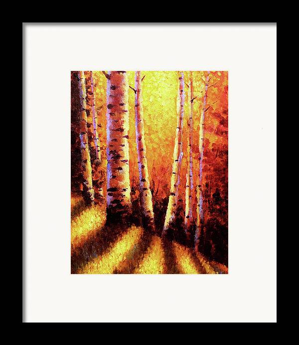 Sunlight Framed Print featuring the painting Sunlight Through The Aspens by David G Paul