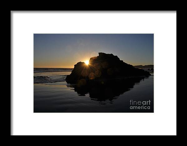 Light Framed Print featuring the photograph Sunlight Through The Rock by Sarah Tate