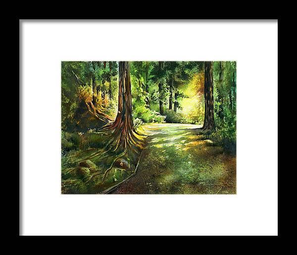 Landscape Framed Print featuring the painting Sunlight Trial Port Moody by Dumitru Barliga