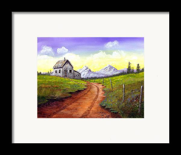 Landscape Framed Print featuring the painting Sunlit Cabin by SueEllen Cowan