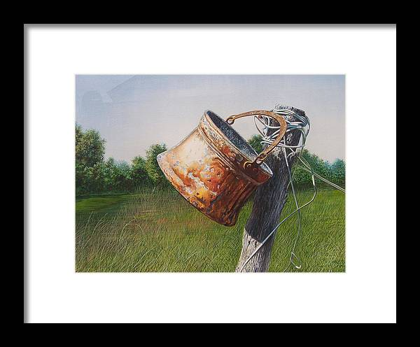 Landscape Framed Print featuring the painting Sunlit Copper by Arnold Hurley