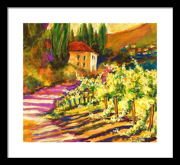 Tuscany Framed Print featuring the painting Sunlit Grapevines Sold by Therese Fowler-Bailey