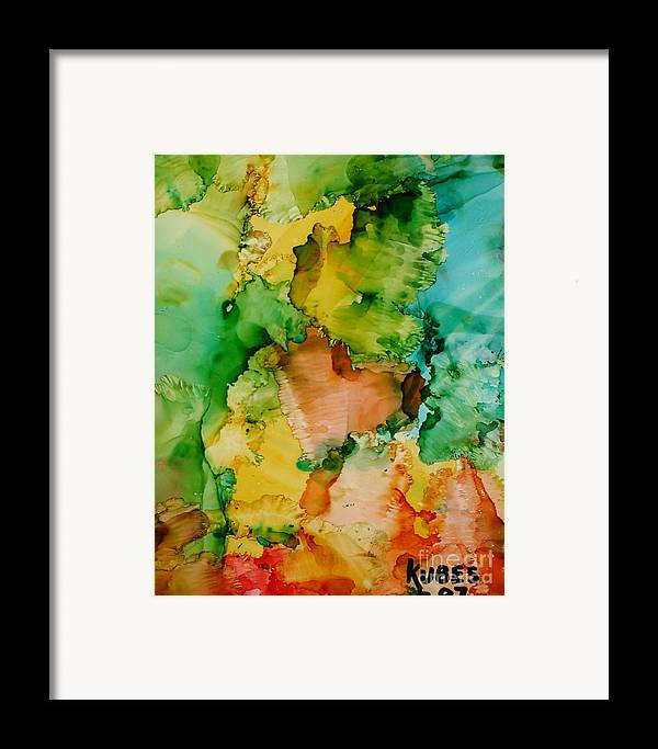 Abstract Framed Print featuring the painting Sunlit Reef by Susan Kubes