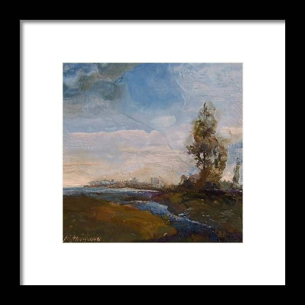 Stream Framed Print featuring the painting Sunlit Stream by Ruth Stromswold