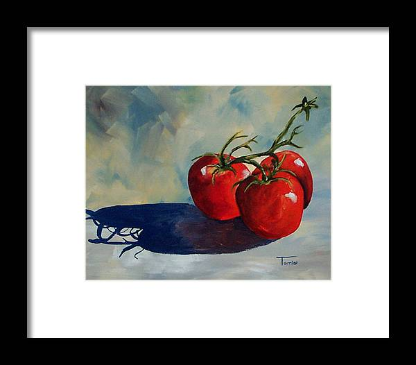 Tomato Framed Print featuring the painting Sunlit Tomatoes by Torrie Smiley