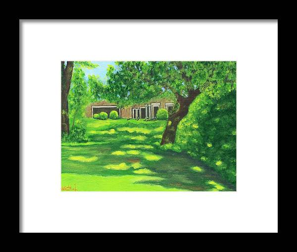 Landscape Framed Print featuring the painting Sunlit View by Charles Vaughn