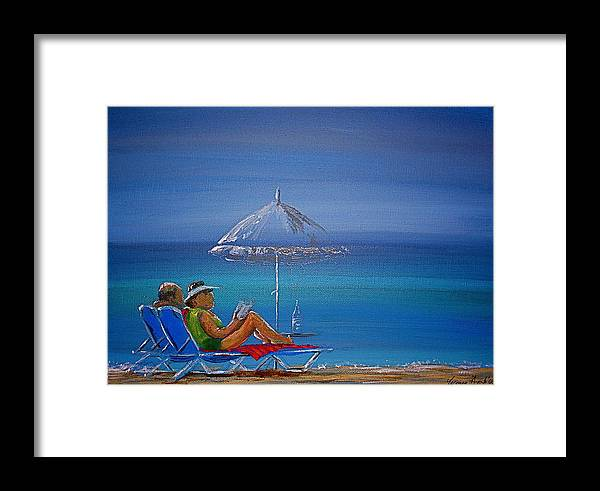 Summer Framed Print featuring the painting Sunloungers by Yvonne Ayoub