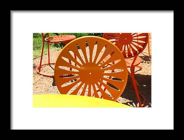 Orange Framed Print featuring the digital art Sunny Chairs 4 by Geoff Strehlow