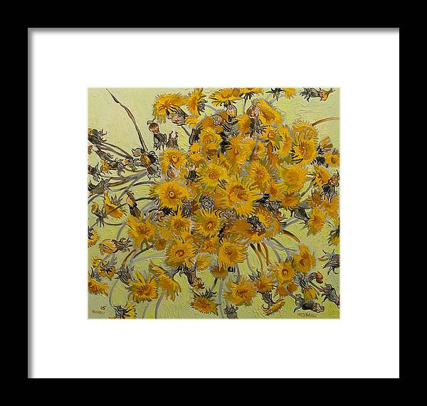 Dandelions Framed Print featuring the painting Sunny Dandelions by Vitali Komarov