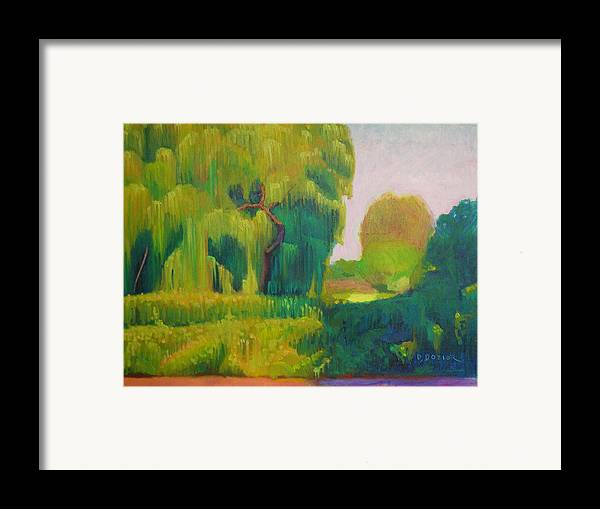 Landscape Framed Print featuring the painting Sunny Day Indian Boundary Park by David Dozier