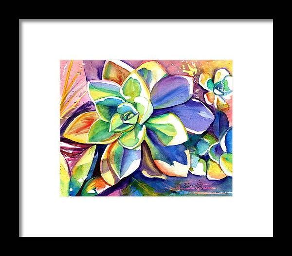 Succulent Painting Framed Print featuring the painting Sunny Day Succulent by Marionette Taboniar