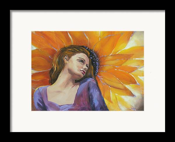 Female Framed Print featuring the painting Sunny by Dianna Willman