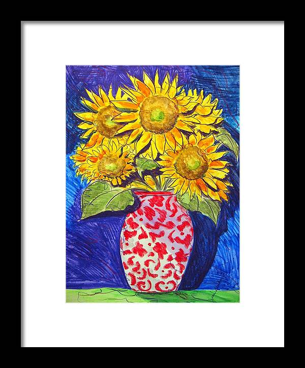 Sunflower Framed Print featuring the painting Sunny Disposition by Jean Blackmer