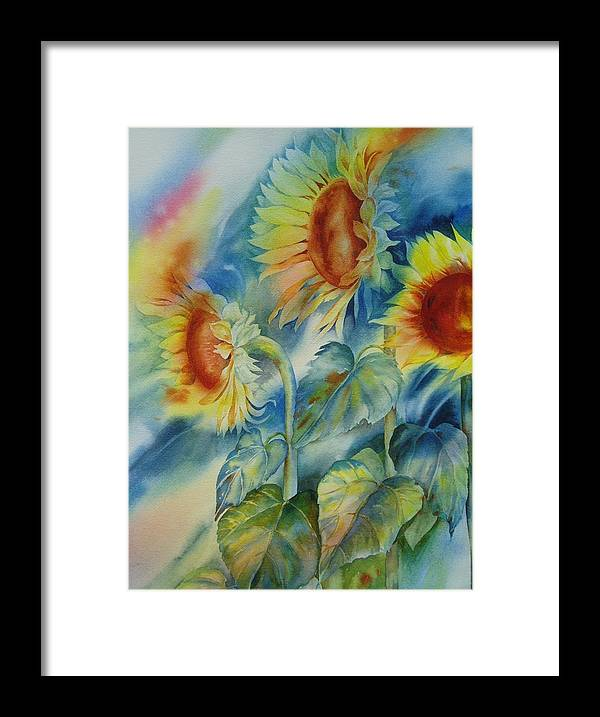 Sunflowers Framed Print featuring the painting Sunny Flowers by Tara Moorman