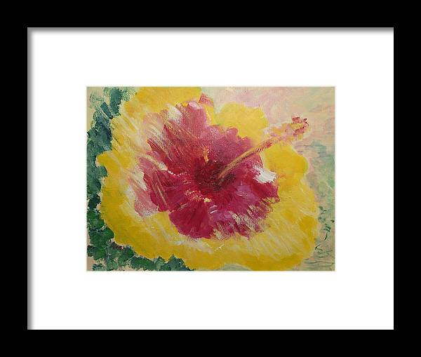 Kauai Framed Print featuring the painting Sunny Hibiscus by Adrian Simpson
