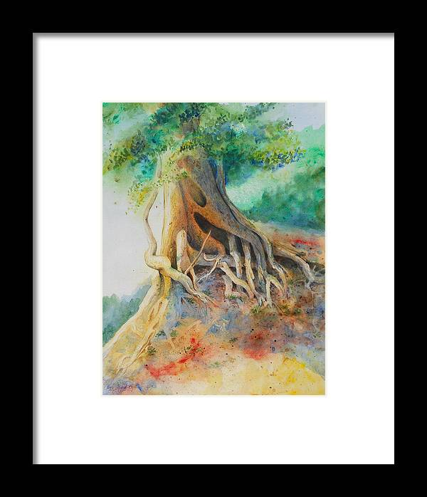 Jungle Tree Framed Print featuring the painting Sunny Jungle Tree by Peggy Hosford Masce