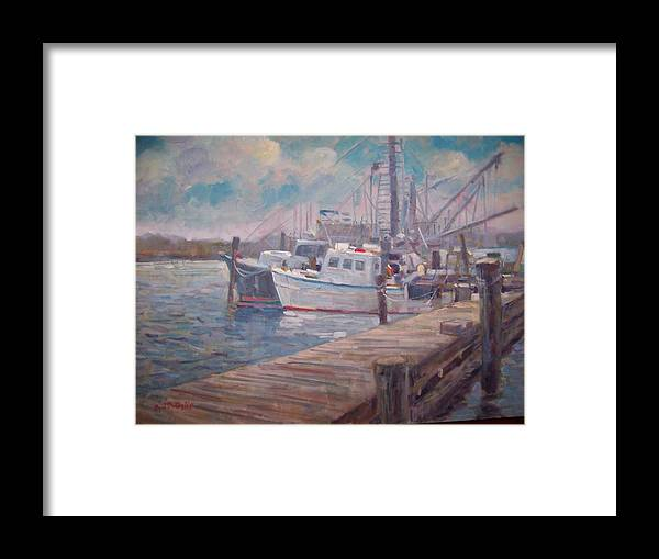 Fishing Boats At A Long Island Marina Framed Print featuring the painting Sunny Marina by Bart DeCeglie