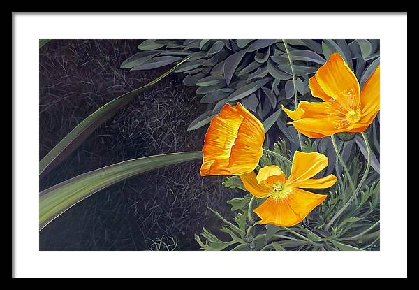 Orange Framed Print featuring the painting Sunny Mystery by Hunter Jay