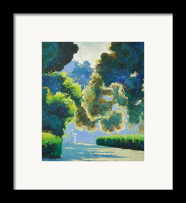 Landscape Framed Print featuring the painting Sunny Noon by Andrej Vystropov