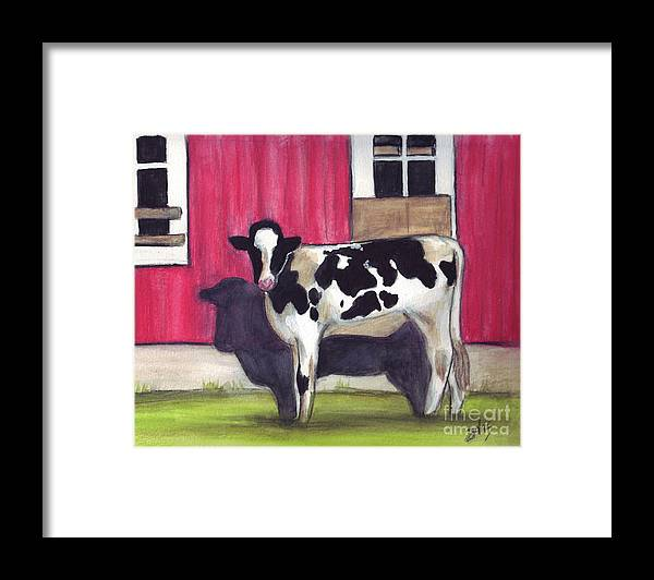 Cow Framed Print featuring the painting Sunny side of the barn by Debra Sandstrom