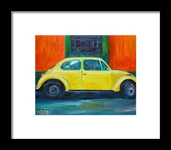 Car Framed Print featuring the painting Sunny Side Up by Irit Bourla