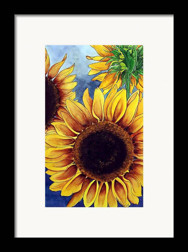 Watercolor Framed Print featuring the painting Sunny Sunflowers by Mary Gaines