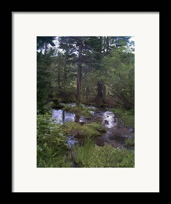 Landscape Framed Print featuring the digital art Sunny Woods by Jennifer Skalecke