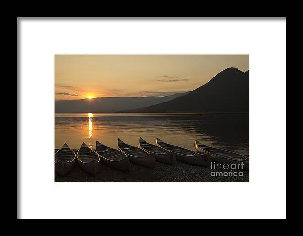 Canoes Framed Print featuring the photograph Sunrise And Canoes On Adams Lake by Richard Reinders
