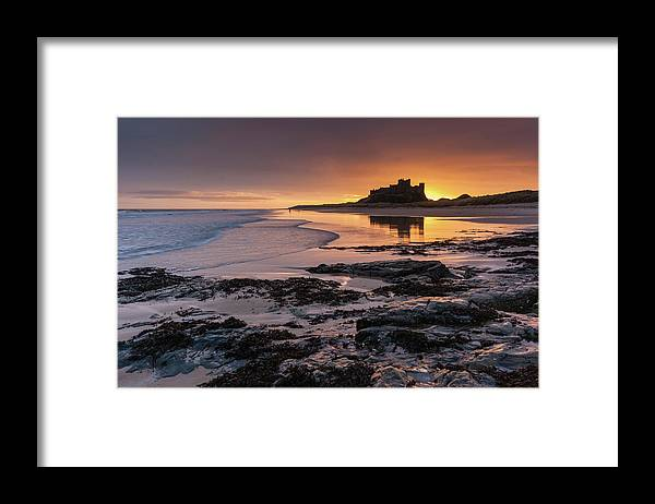 Sunrise Framed Print featuring the photograph Sunrise at Bamburgh Castle #4, Northumberland, North East England by Anthony Lawlor