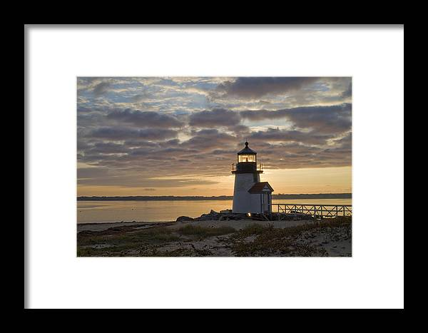 Krauzyk Framed Print featuring the photograph Sunrise At Brant Point Nantucket by Henry Krauzyk
