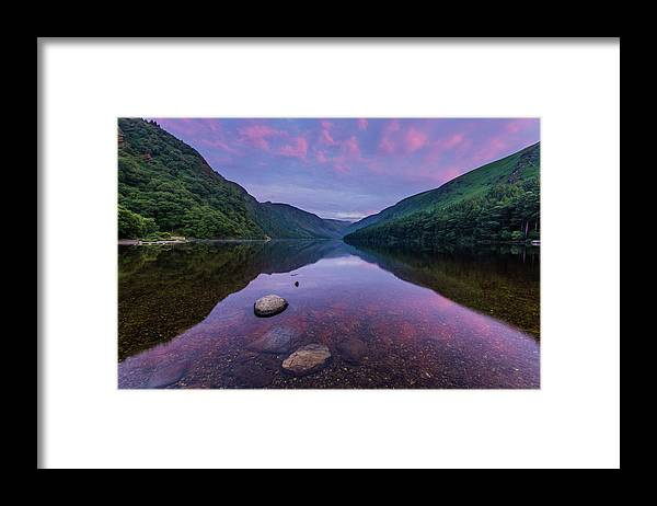 Sunrise Framed Print featuring the photograph Sunrise at Glendalough Upper Lake #1, County Wicklow, Ireland by Anthony Lawlor