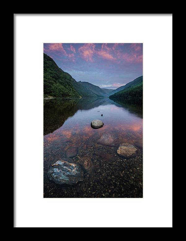 Sunrise Framed Print featuring the photograph Sunrise at Glendalough Upper Lake #2, County Wicklow, Ireland by Anthony Lawlor