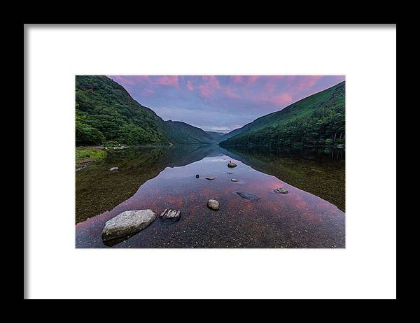 Sunrise Framed Print featuring the photograph Sunrise at Glendalough Upper Lake #3, County Wicklow, Ireland. by Anthony Lawlor
