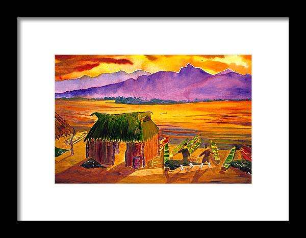 Seascape Framed Print featuring the painting Sunrise At La Brecha by Buster Dight