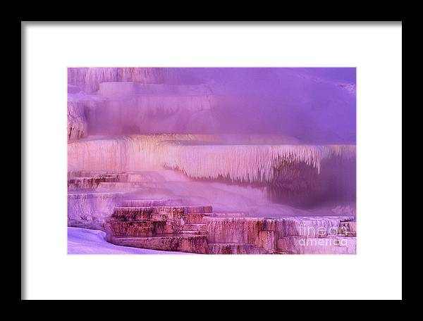North America Framed Print featuring the photograph Sunrise At Minerva Springs Yellowstone National Park by Dave Welling