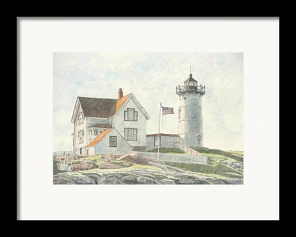 Watercolor Framed Print featuring the painting Sunrise At Nubble Light by Dominic White
